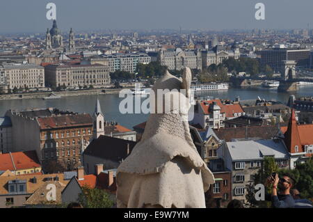 View from Fisherman's Bastion, Castle Hill Buda, Budapest, Hungary - Stock Photo