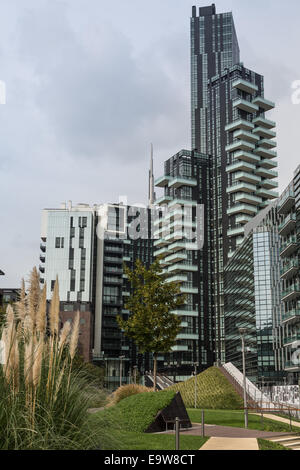 Milan, Italy, Porta Nuova business and residential district - Stock Photo