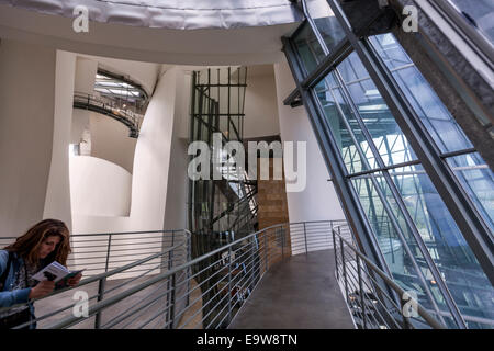Interior of the Guggenheim Museum Bilbao designed by Canadian-American architect Frank Gehry, - Stock Photo