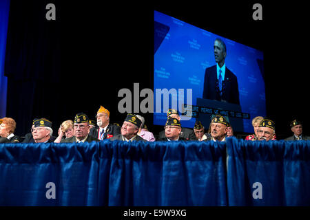 President Barack Obama delivers remarks during the American Legion's 96th National Convention at the Charlotte Convention - Stock Photo