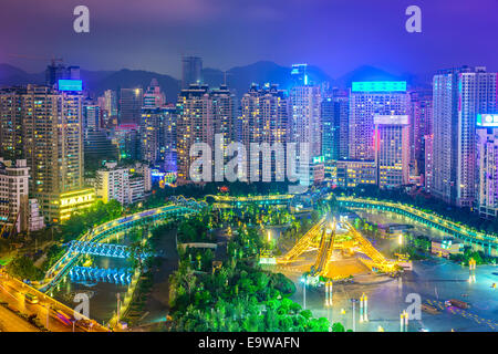 Guiyang, China cityscape over People's Square at night. - Stock Photo