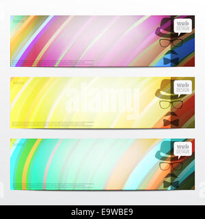 set of vector banners with colorful striped pattern. graphic, web design elements - Stock Photo