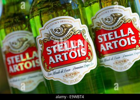 Stella Artois Beer Bottles Bottle - Stock Photo
