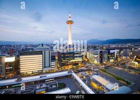 Kyoto, Japan downtown city skyline. - Stock Photo