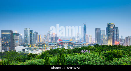 Shenzhen, China civic center city skyline. - Stock Photo