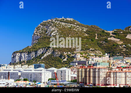 The British Overseas territory of the Rock of Gibraltar. - Stock Photo