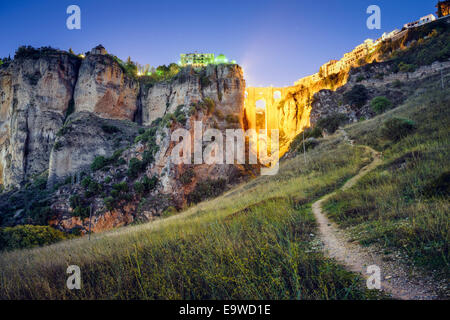 Ronda, Spain at Puente Nuevo Bridge. - Stock Photo