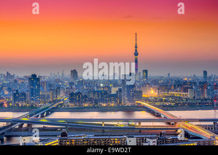 Tokyo, Japan city skyline at Sumida Ward. - Stock Photo