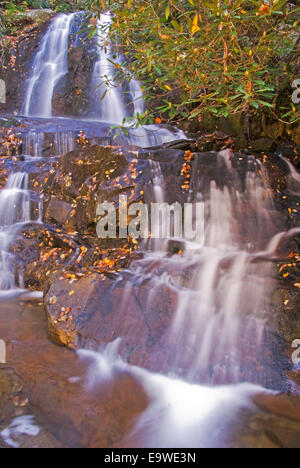 Laurel Falls along Little River Road in autumn in Great Smoky Mountains National Park. - Stock Photo