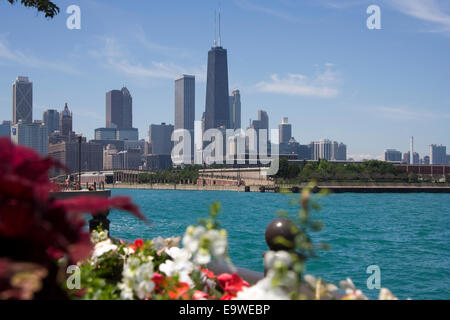 Flower view of Chicago and lake Michigan shore line. - Stock Photo