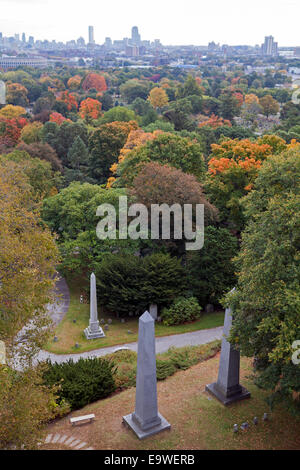 Mount Auburn Cemetery in Massachusetts, was founded in 1831 as 'America's first garden cemetery' or 'rural cemetery'. - Stock Photo