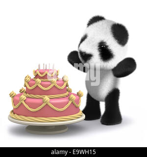 3d render of a baby panda bear with a cake - Stock Photo