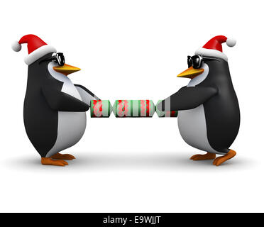3d render of two penguins wearing Santa Claus hats and pulling on a Christmas cracker - Stock Photo