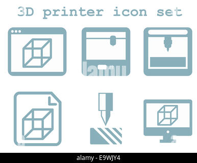vector icon set of 3d printing technology, flat blue isolated icons: display, window, blueprint, device on white - Stock Photo