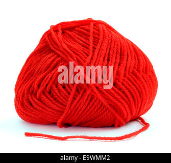 a ball of red yarn for knitting on a white background - Stock Photo