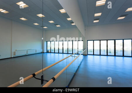 Superb Unoccupied Dance Studio With Mirrors And Ballet Barre   Stock Photo