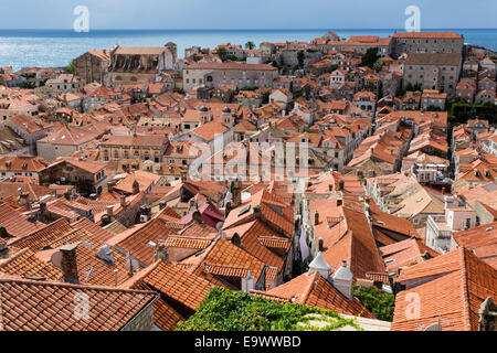 Rooftop View over Dubrovnik Old Town, Croatia - Stock Photo
