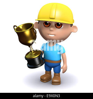 3d render of a builder holding a gold cup - Stock Photo