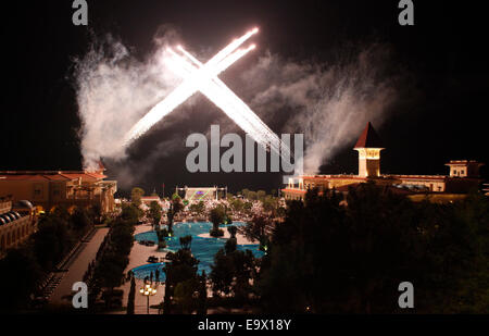 Gala Night fireworks,Gueral Premier Resort in Tekirova,Antalya,Turkey. - Stock Photo