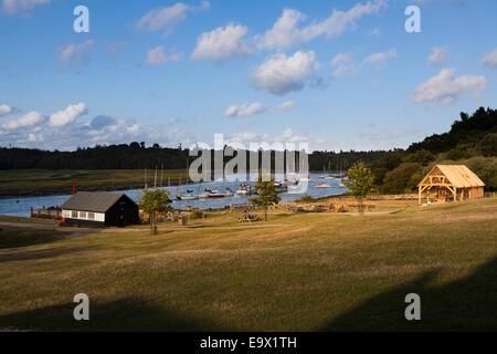 The Beaulieu River at Bucklers Hard in evening sunlight - Stock Photo