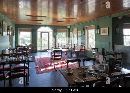 Unoccupied breakfast room at The Master Builders Bucklers Hard - Stock Photo