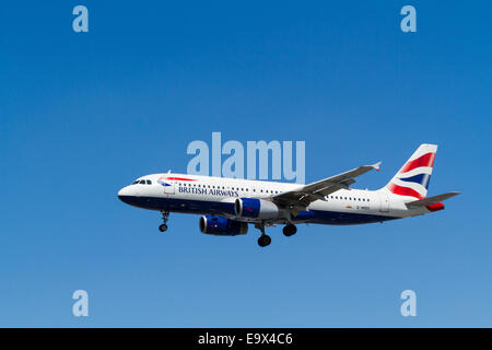 British Airways Airbus A320, G-MIDY on landing approach at London Heathrow, England, UK - Stock Photo