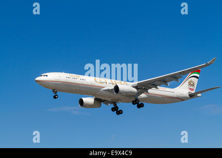 Etihad Airways Airbus A330 plane, A6-AFF, on landing approach at London Heathrow, England, UK - Stock Photo