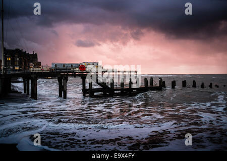 Aberystwyth Wales UK, Monday 3rd November 2014  Cold windy and very wet weather returns to Aberystwyth on the west - Stock Photo