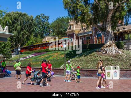 Disneyland Railroad at the entrance to Disneyland Resort, Anaheim, Orange County, near Los Angeles, California, - Stock Photo