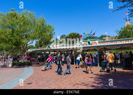 Turnstiles at the entrance to Disneyland Resort, Anaheim, Orange County, near Los Angeles, California, USA - Stock Photo