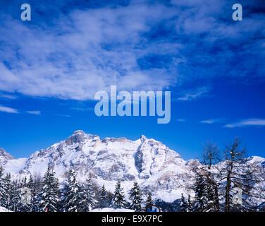Massive limestone cliffs Alpe di Fanes from Corvara, Dolomites,  Alto Adige,  Trentino,Italy - Stock Photo