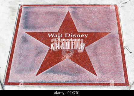 Star on the sidewalk outside the entrance to Disneyland Resort, Anaheim, Orange County, near Los Angeles, California, - Stock Photo