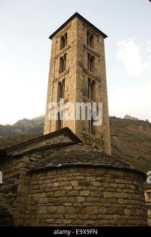 Santa Eulalia romanesque church in Erill la Vall. Vall de Boi, Lleida, Catalonia, Spain. - Stock Photo