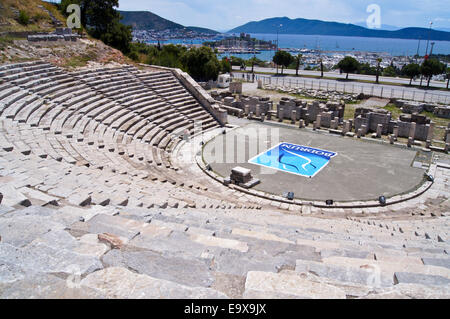 Dorian and Roman amphitheatre, Odeon,  Halicarnassus, 4th. century BC and 2nd century AD, now Bodrum, Turkey - Stock Photo