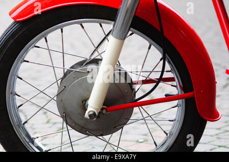 Italy, Lombardy, Meeting of Vintage Motorcycle, Spoked Wheel - Stock Photo