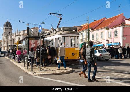 Horizontal streetscape of Belem, Lisbon. - Stock Photo