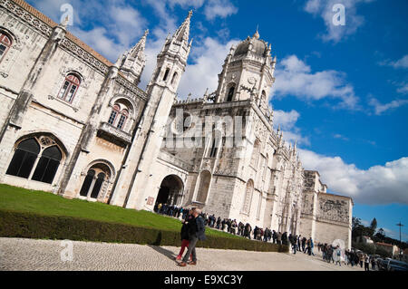 Horizontal view of Jeronimos Monastery in Belem, Lisbon. - Stock Photo