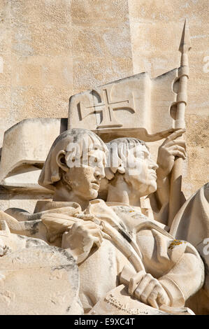Vertical close up of figures on the Monument to the Discoveries in Belém, Belem Lisbon - Stock Photo