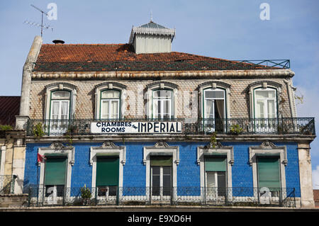 Horizontal view of a tiled house in Lisbon. - Stock Photo