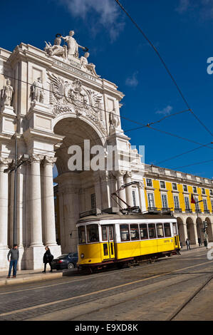 Vertical streetscape of Rua Augusta Arch in Commerce Square in Lisbon. - Stock Photo