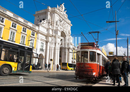 Horizontal streetscape of Rua Augusta Arch in Commerce Square in Lisbon. - Stock Photo