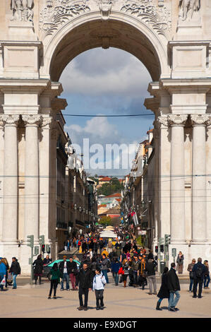 Vertical view through Rua Augusta Arch in Commerce Square in Lisbon. - Stock Photo