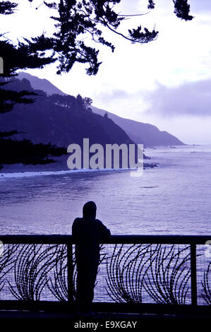 man with hoodie watches fog roll in from Esalen Institue lookout in Big Sur California - Stock Photo