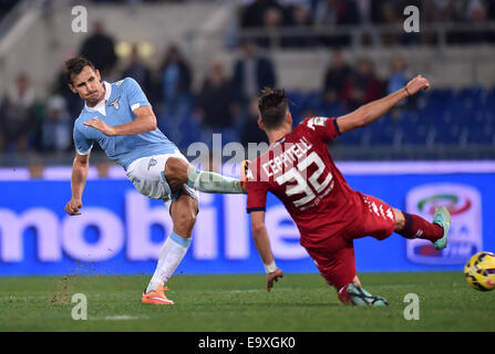 Roma, Italy. 3rd Nov, 2014. Miroslav Klose (L) of Lazio kicks to goal during the Serie A football match against - Stock Photo