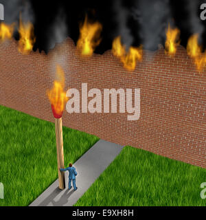 Escape concept as a businessman holding a giant ignited match burning down a brick wall made of paper as a success - Stock Photo