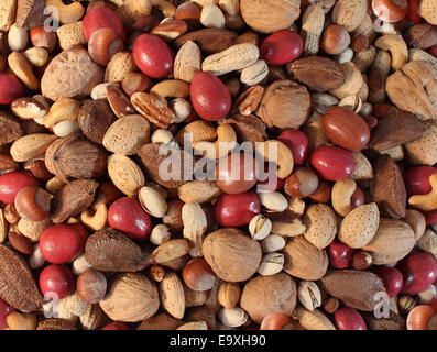 Nuts background with a mixed assortment of seeds and pecan with walnut brazil nut peanut,hazelnut pistachio almond - Stock Photo
