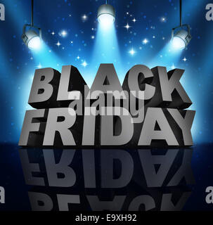 Black friday sale banner sign as three dimensional text on a stage with spot lights and sparkles as a party to celebrate - Stock Photo