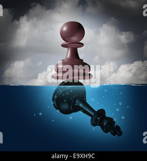 Winner and champion success concept as a chess pawn piece standing on top of a drowning king as a business metaphor - Stock Photo