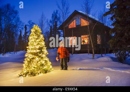 Alaska,Cabin,Christmas Tree,Rural - Stock Photo