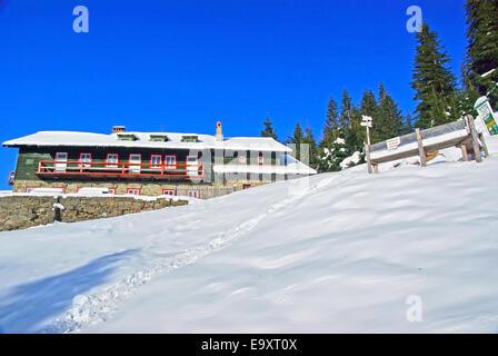 Mountain cabin in winter, Romanian Carpathians. - Stock Photo